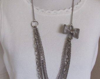 "Beautiful Silver Multi Chain Long 28"" Inch Necklace  (117F)"
