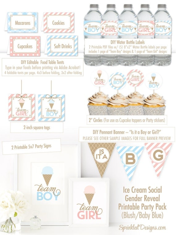 Ice Cream Social Gender Reveal Party Printable Decorations
