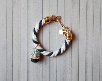 Navy Blue Cupcake Bracelet/ rope jewelry / food jewelry / miniature food/ mini food / kawaii jewelry / dollhouse miniature / fake food /