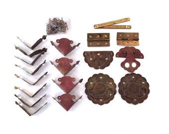Vintage Oriental Hardware - Vintage Asian Hardware - Vintage Chinese Brass Hardware - Oriental Chest Hardware - Oriental Brass Hardware