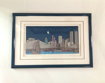 Large Vintage John Suchy The Brooklyn Bridge and the Downtown Skyline - Signed & Numbered - John Suchy 3D Artwork - Vintage John Suchy NYC