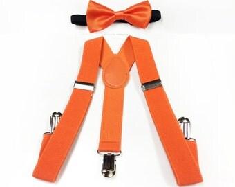 baby boy clothes, orange bowtie, orange suspenders, toddler bowtie and suspenders, orange toddler bow tie and suspenders set
