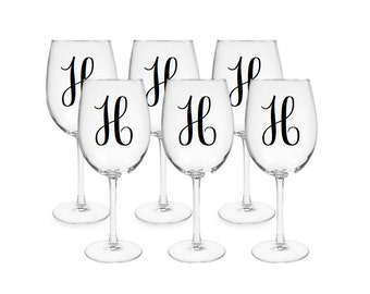 Set of 6 Decorative Wine Glasses