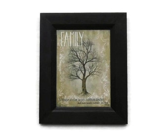 Primitive Decor, Family Tree, Framed Sign, Art Print, Country Home Decor, Wall Hanging, Handmade, 9 X 7, Custom Wood Frame, Made in the USA
