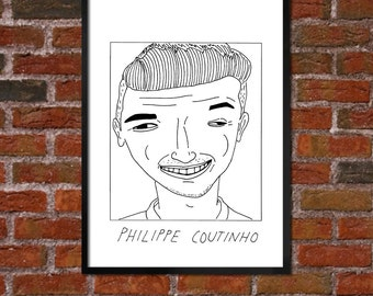 Badly Drawn Philippe Coutinho - Liverpool FC Football Poster - *** BUY 4, get a 5th FREE***