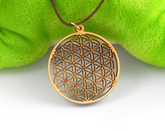 Flower of life necklace wooden pendant, Great void flower of live necklace charm, joga yoga spiritual necklace, boho natural necklace 143