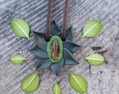 CLEARANCE! Dark Green Flower // Citrine Gemstone // Dark Brown Vegan Suede // Hippie Boho Nature Bohemian