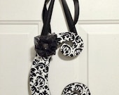 Large Letter Wreath, Black and White Damask Wood Letter