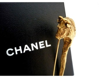 CHANEL ~ Authentic Vintage Bull Head/Taurus Gold Plated Brooch/Safety Pin - CC