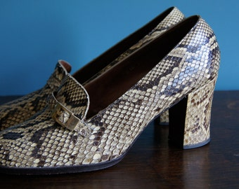 Vintage PYTHON genuine SNAKE leather shoes, 80's, size EU 38, geuine python leather Made in Spain