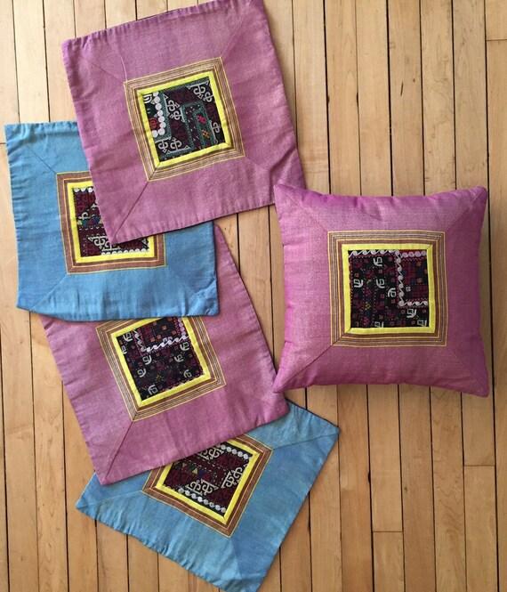 "70s Handmade Turkish Embroidered Pillowcases (15""x15"")"