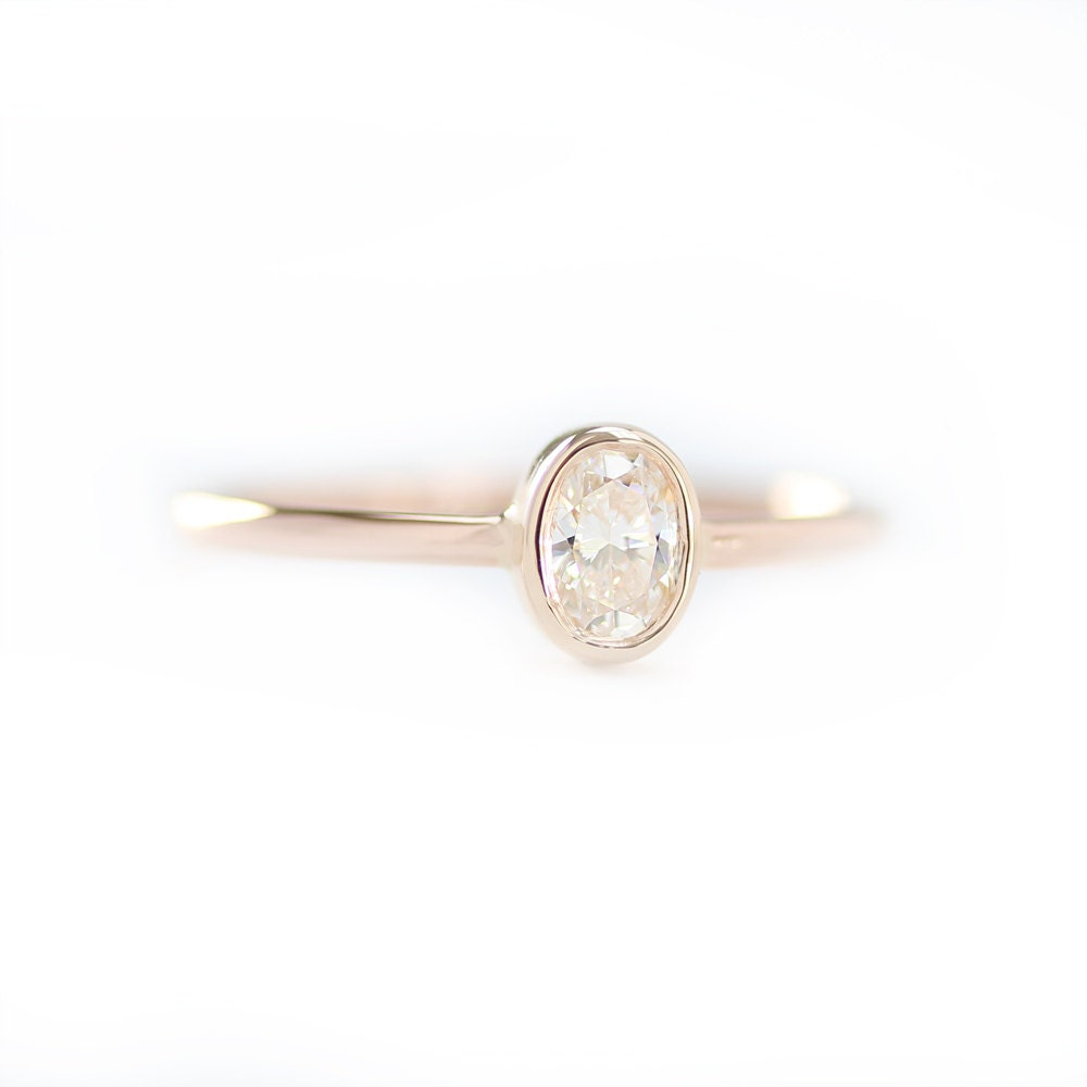 Oval Diamond Engagement Ring, Oval Shape Diamond Ring, Oval Engagement Ring,  Simple Diamond
