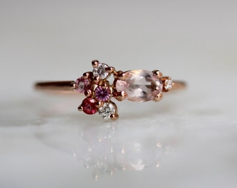 14k Morganite Cluster Ring, Pink Ring, Pink Sapphire, Pink Topaz, Diamond Ring, Engagment Ring, Alternative Bridal Ring, Solid Gold