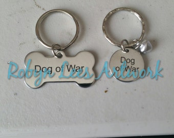 Engraved Dog of War Round or Bone Shaped Dog Pet Tags with or without a Small Bell on Round Silver Ring