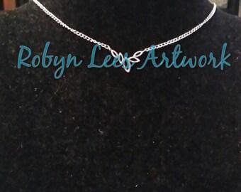 Silver Dainty Art Nouveau Leaves Necklace on Fine Silver Chain, Bridal