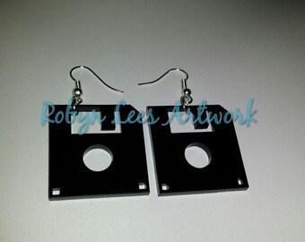 Black Floppy Disc Laser Cut Earrings on Silver Hooks