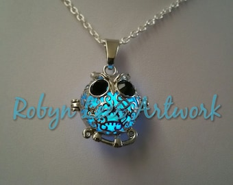 Blue Glow in the Dark Silver Filigree Owl Locket Necklace on Silver Crossed Chain, Wish Box, Bird Prayer Box, UV