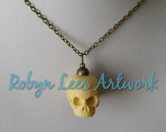 3D Resin Human Skull Necklace on Bronze, Silver or Gunmetal Crossed Chain. Gothic Anatomy, Anatomical Costume