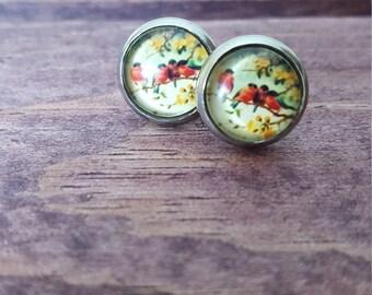 Stud Earrings - Vintage Birds - Stainless Steel - 10mm