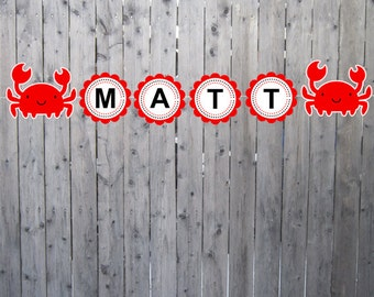 Crab Birthday Banner - Crab Banner - Under the Sea Banner