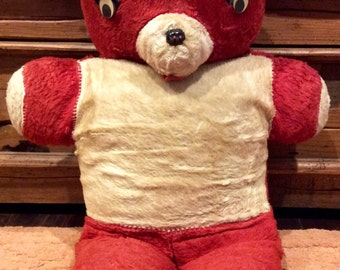 "Large 22"" Vintage Red and White Teddy Bear Plushy, Plush Teddy Bears, Antique Teddy Bear, Vintage Plush Toys, Creepy Teddy Bear, Bears"