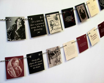 Oscar Wilde Mini bunting.  Quotations garland.  Book bunting.  Upcycled book lover banner.  Eco-friendly tea party flags.  Bookshelf decor
