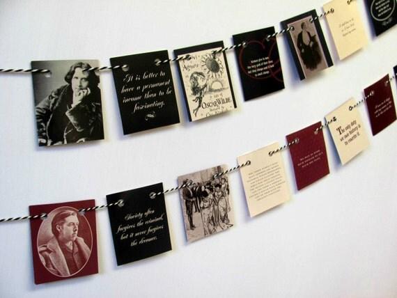 Oscar wilde mini bunting quotations garland book bunting for Art and decoration oscar wilde