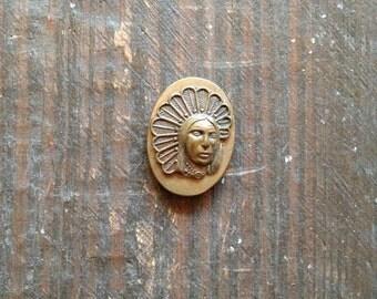 Vintage Brass Native American Medallion Souvenir Collectible