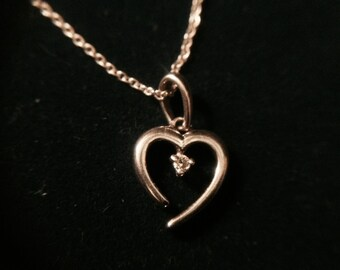 Vintage Sterling Silver and Diamond Heart Pendant Necklace