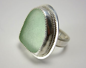 Seafoam Sea Glass Ring - Size 8.5, Large, Beach Glass Statement Ring, Sterling Silver