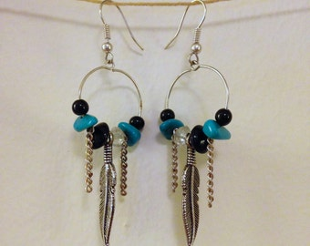 turquoise hoop drop earrings