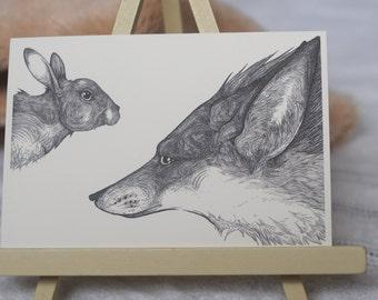 Fox and Rabbit Illustration, Fox and Rabbit Art, Fox Drawing, Rabbit Drawing, Black and White Art, Animal Art, Animal Illustration, A6 Print