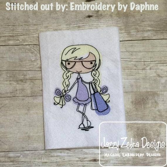 Mod Girl 2 Sketch Embroidery Design - girl Sketch Embroidery Design - shopping Sketch Embroidery Design