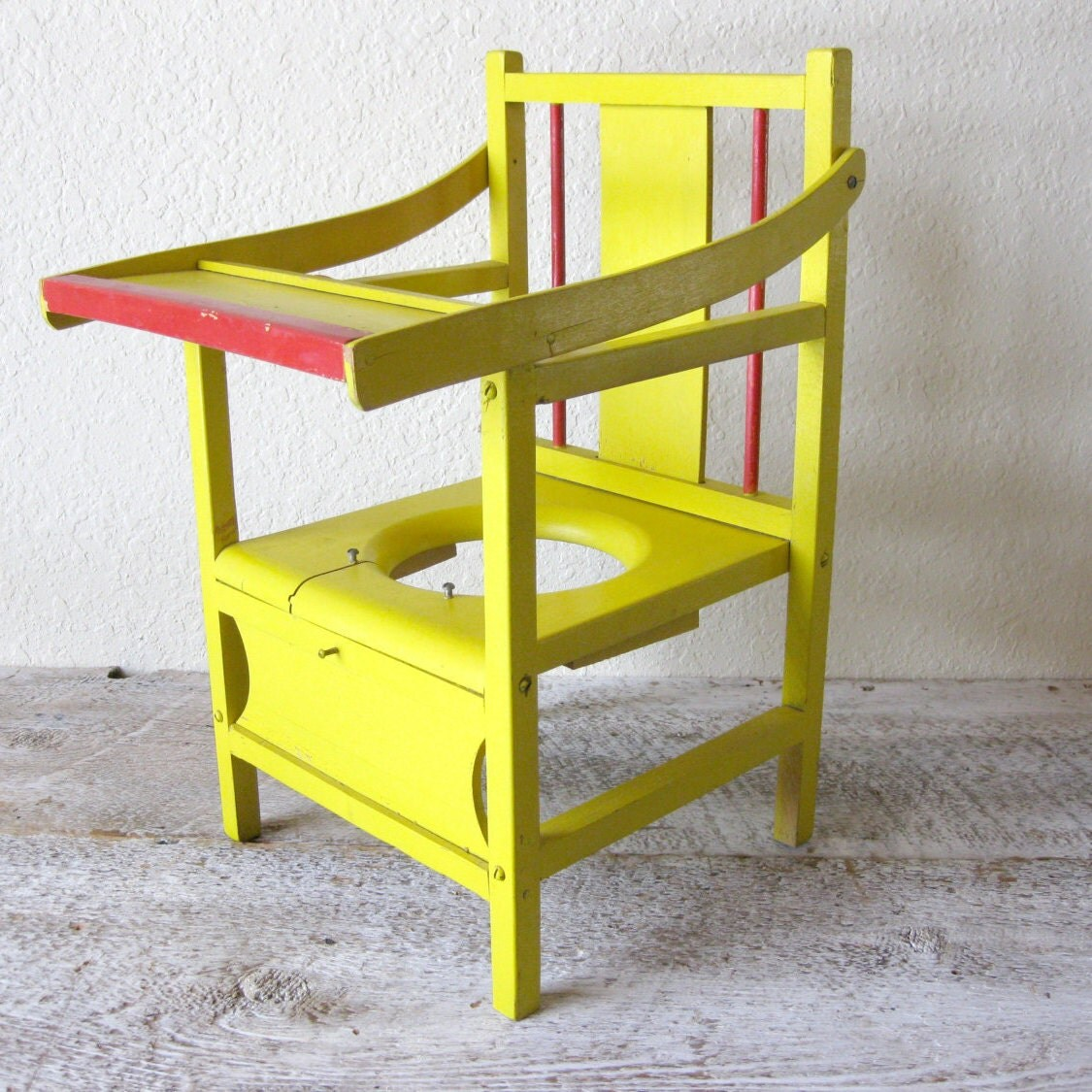 Antique Wood Child's Potty Chair Planter