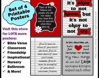 Red Black and Gray Teacher Classroom Decor, Printable Classroom Posters, Classroom Rules Sign, Teacher Gift Idea, Printable Art