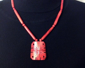 1960's Distressed Red Vintage Japanese Ceramic Necklace, Vintage Japanese Pendant Necklace, 1960's Vintage Red Glass Hipster Necklace