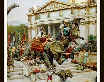Dinotopia Art Print, Humans and Dinosaurs Parade, Triceratops, Fantasy, James Gurney Art, Home Decor, Illustration, Ready to Frame