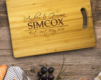 Personalised Chopping Board  Cutting Board Wedding Gift or Anniversary Gift. With names and date.