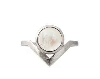 Angled Moonstone Ring in Sterling Silver