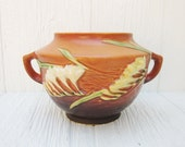 Roseville Pottery Tangerine Freesia Rose Bowl 463-5, Roseville Vase or Planter, Ceramic Orange Bowl with Handles