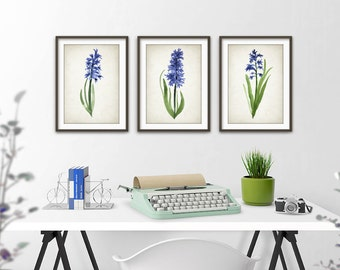 Blue Watercolor Flower Print Set of 3 - Blue Flowers Home Decor - Watercolour Flower Giclee Art Poster - Chic Bedroom Watercolour Art