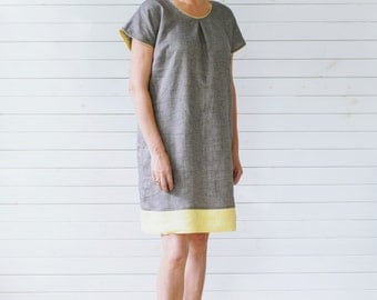 Linen dress, Linen summer dress, Flax summer dress, Organic linen dress, Short sleeve linen summer dress, Layered linen dress, Linen dress