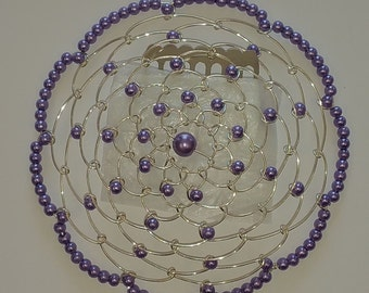 Beaded Kippah in Tanzinite Purple Pearl with Silver Wire