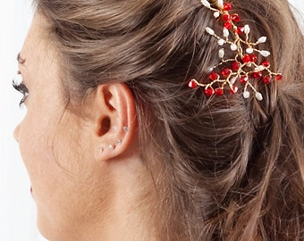 Red Crystal & Freshwater Pearl Gold Hair Comb