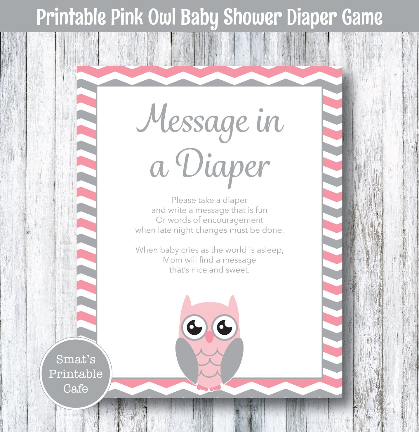 Pink Owl Baby Shower Diaper Message Game PRINTABLE Chevron