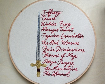 Arya's List, Game of Thrones, Embroidery Designs, Arya Stark, Embroidery Pattern PDF