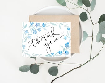 Watercolor Thank You card - Blue Florals