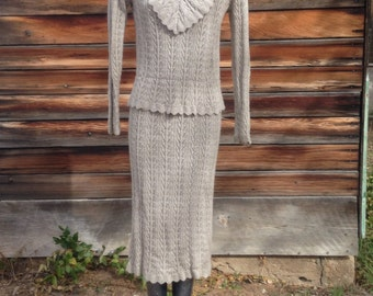SALE*** Vintage Natural Colored Lightweight Sweater Dress Set Seperates by Laura Vintage 80's size medium oatmeal