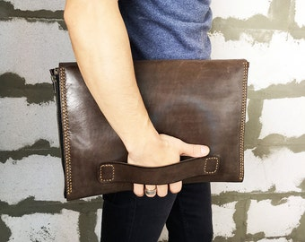 Leather Laptop case with Charger case Dell laptop case  Leather charger bag Leather cable organizer Zippers laptop case Dark brown leather