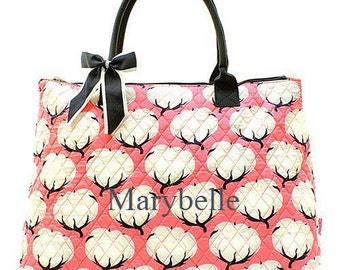 Monogrammed Tote  Coral Cotton Quilted Tote  Monogrammed Tote Bag